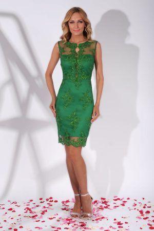 Rochie de Cocktail Eleganta din Dantela Verde Ingrid