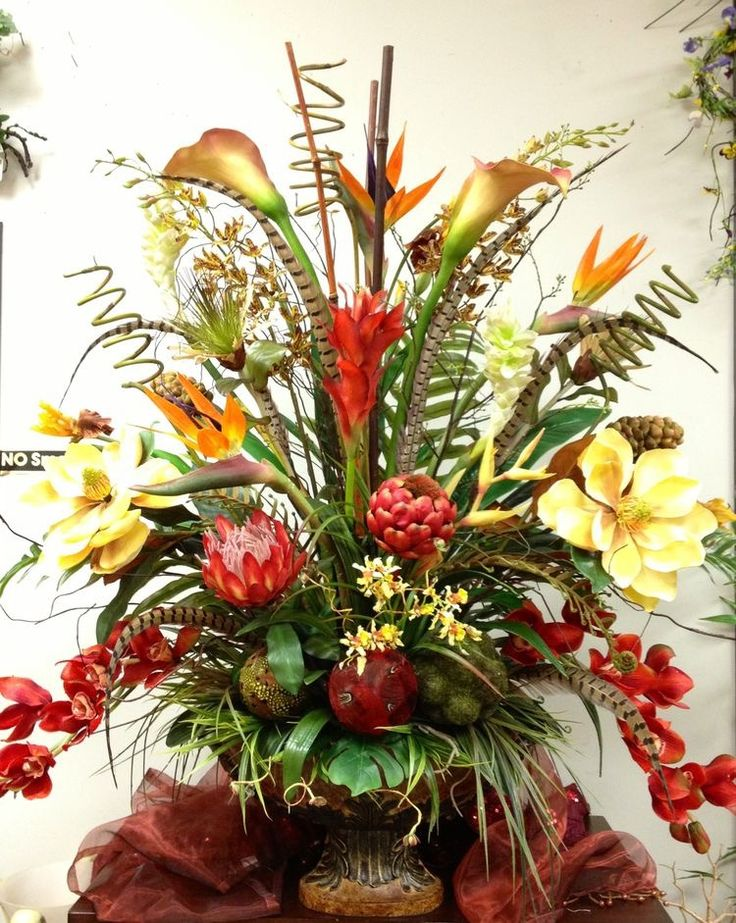 tropical floral arrangement for the foyer designed by arcadia flora home decor - Silk Arrangements For Home Decor