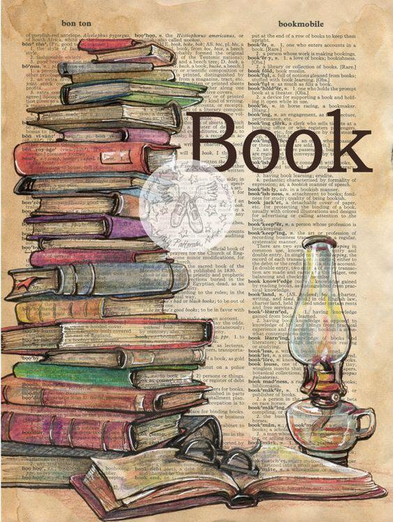 7 x 9 stampa originale, attingendo in difficoltà tecnica mista, pagina del dizionario  Questo disegno di una pila di libri è disegnato in inchiostro