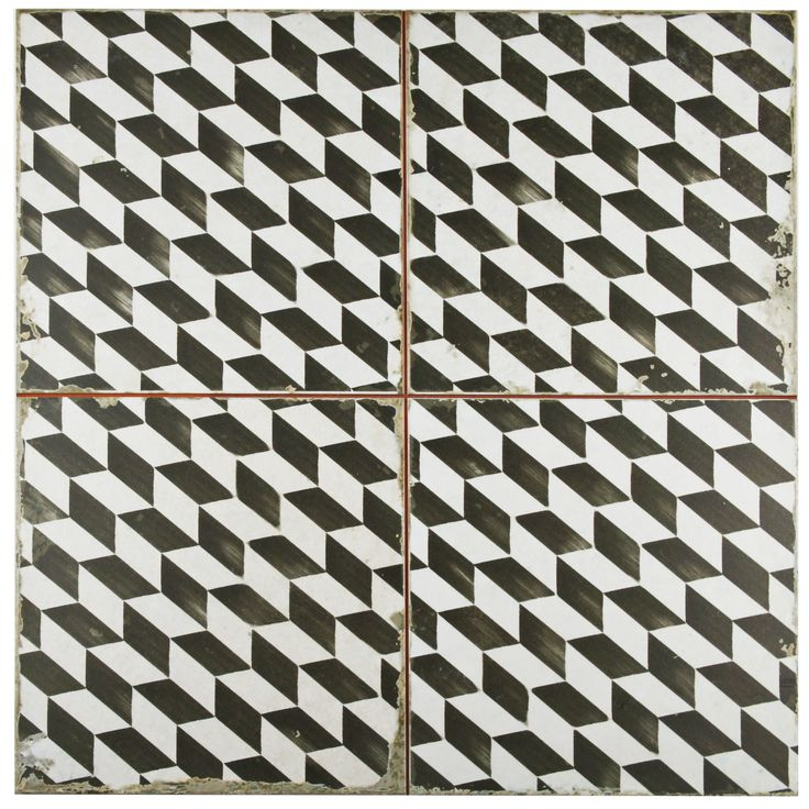 "Royalty 17.75"" x 17.75"" Ceramic Field Tile in Espiga Black and White"