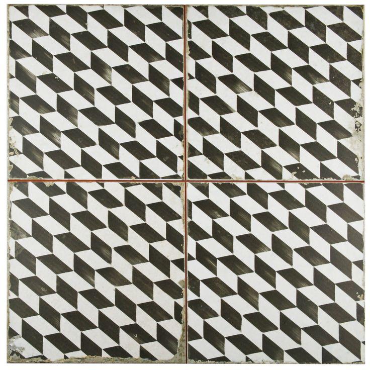 "Royalty 17.75"" x 17.75"" Ceramic Field Tile in Espiga Black and White"