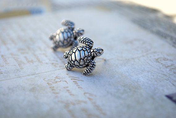 Hey, I found this really awesome Etsy listing at https://www.etsy.com/listing/180563775/turtle-earring-stud-silver-turtles