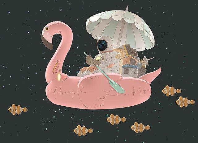 space flamingo astronaut fish sea