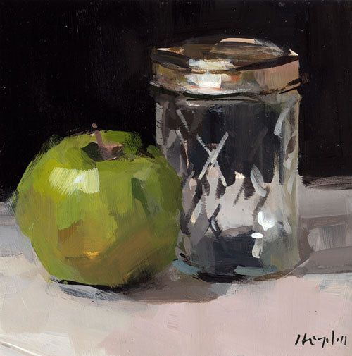 Art Print Still Life Apple Green Glass Jar 5x5 on 8x10 - Apple with Mason Jar by David Lloyd. $14.00, via Etsy.
