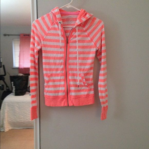 Pink and white striped zip up sweater Pink and white striped zip up sweater SO Sweaters