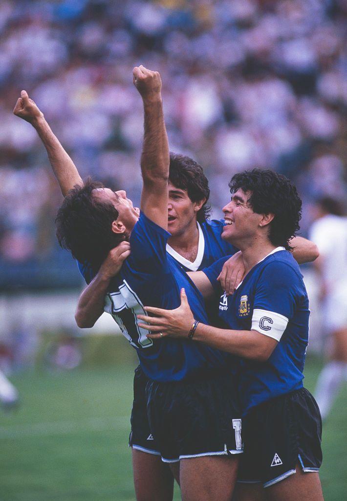 Argentine Footballer Diego Maradona Celebrates With Goalscorer Pedro Diego Maradona Diego Football