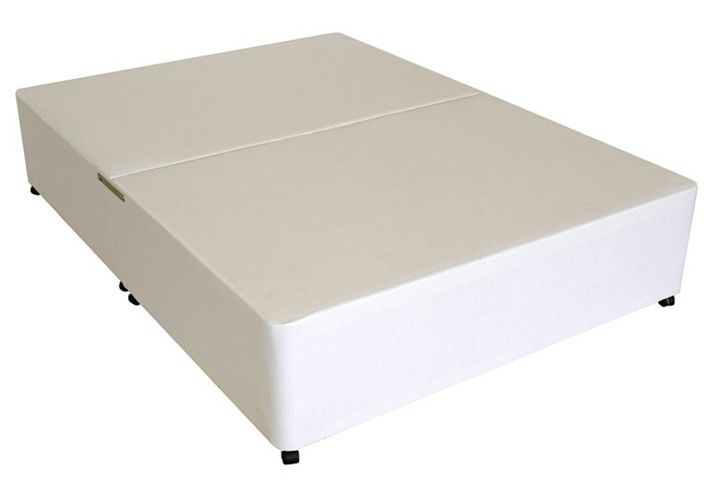 Deluxe 5ft King Size Divan Bed Base only in White Cotton Fabric