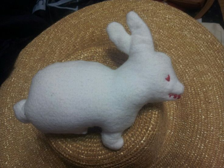 The Rabbit of Caerbannog. Made of cotton flannel, with red stitching and poly wadding. Made for a birthday, February 2014.