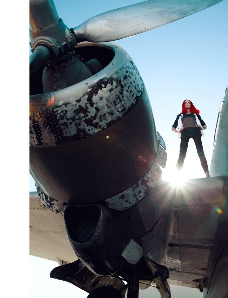 High Fashion Photographers Los Angeles- Top Celebrity   Editorials   Vogue   Advertising   Beauty: Madame Magazine Germany Editorial- airplane hangar photoshoot with model Angelika Kocheva