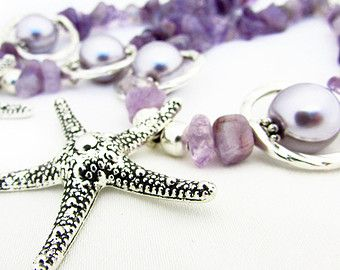 Purple Starfish Curtain Tiebacks, Purple Ice Flake Ship Drapery Hold Backs, Shabby Chic Beach Curtain Tiebacks, Beaded Curtain Tiebacks