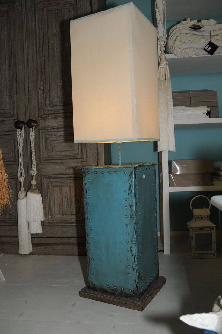 Rectangular shaped lamp with oxidised metal in turquoise and blue shades
