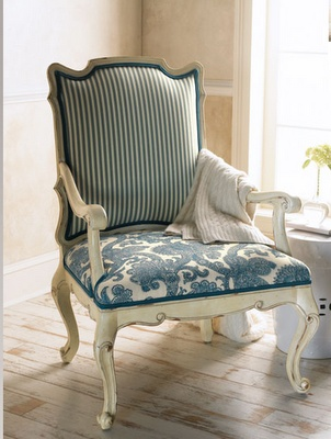 Reupholstered Chair Blue Floral Seat Fabric And Blue Stripe Back Seat Fabric