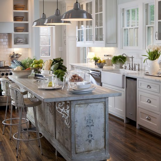 french county kitchens | An island in the kitchen can be an indulgence but it's also a ... Lights: