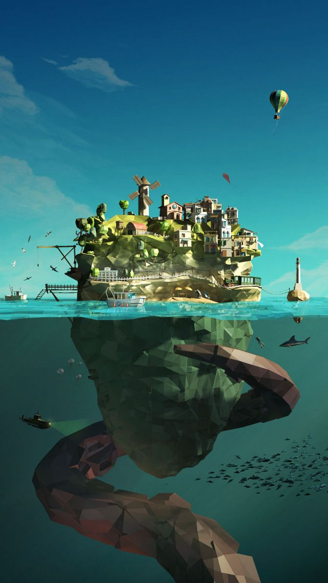 "The Island - Low Poly I am uncertain if this is a painting or 3D model render.  Either way, the boxy, pixelated look (also known as the ""low poly"") contributes to the feel of this environment.  The artist implemented an interesting contrast in universe between the island and below the sea.  This is made successful by the high saturation on top verses the lower saturation below."