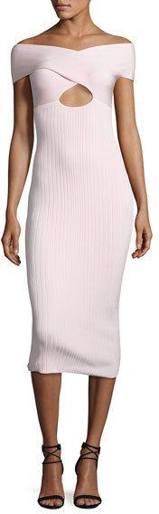 Cushnie et Ochs Off-Shoulder Cutout Midi Dress, Light Pink   #Chic Only #Glamour Always