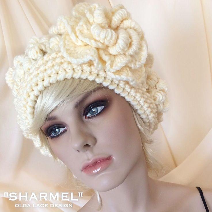 """Купить Вязаный берет """"Sharmel"""" от Olga Lace - вязаный берет, кружевной берет, весенний берет"""