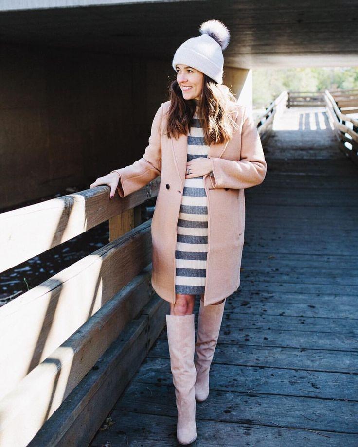 Dicker Hut, Mantel und Stiefel … der Look ist fertig. #Modernity # # schwanger … – Schwangerschaft/Baby