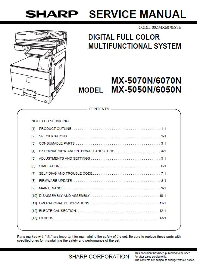 Sharp Mx 5070n 6070n 5050n 6050n Service Manual And Repair Guide Repair Guide Manual Repair