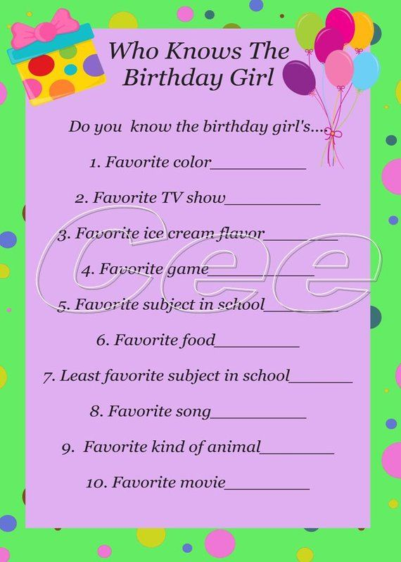 Who Knows The Birthday Girl Instant Download Party Game Etsy In 2021 Tween Birthday Party Birthday Party For Teens 13th Birthday Party Ideas For Girls