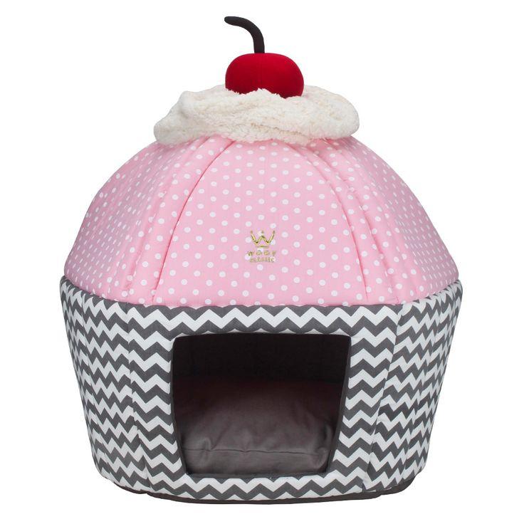 Cama Cupcake Chevron Cinza e Poá Rosa - Woof Pet | Vilarejo Pet - vilarejopet MOBILE