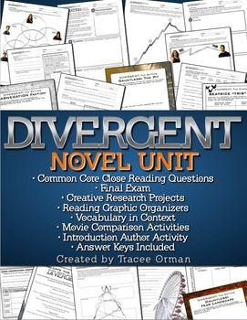 Divergent Novel Unit - Reading, Language, and Writing Common Core Activities #Divergent #engchat