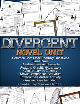 """Divergent Novel Unit - Common Core State Standards AlignedComprehensive literature novel unit for Veronica Roth's """"Divergent."""" *Updated* with editable Word files for exams, questions, and vocabulary. Contains the following files:Divergent Chapter Discussion Questions, Vocabulary, Introduction, and CCSS Reading Graphic Organizers (134 pages)"""