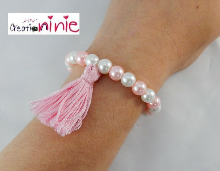 Bracelet élastique perles pompon rose clair et blanc, personnalisable : Bracelet par creation-ninie