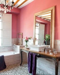 All of it.Wall Colors, Bathroom Design, Mirrors, Ideas, Coral Bathroom, Dreams Bathroom, Pink Wall, Design Bathroom, Pink Bathroom