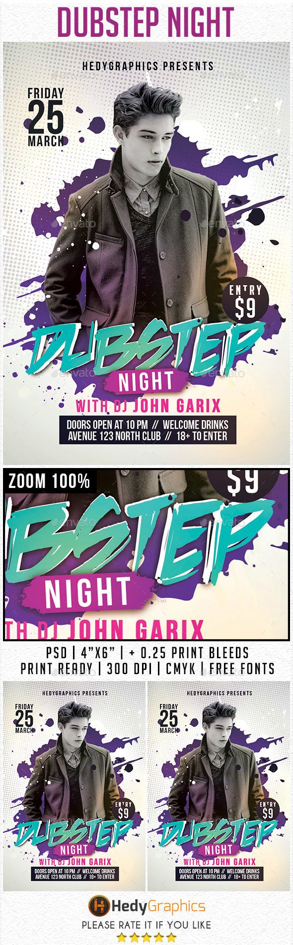 Dubstep & Guest Dj - Flyer Template PSD #design Download: http://graphicriver.net/item/dubstep-guest-dj-flyer-template/14485776?ref=ksioks