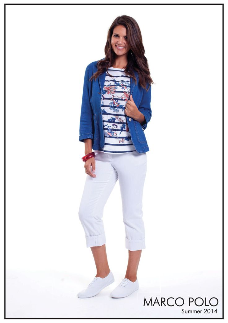 Our beautiful Capri range has just landed in boutiques and Myer stores nationally. The classic Denim Blazer is a must have this season! Style with our Cropped Chino and Stripe Tee for casual styling. Also available in Petite and Woman Sizing's. Please call 03 9902 5100 to locate your nearest stockist or shop online today at http://www.marcopolo.net.au/ (Style Numbers: Denim Blazer 14S648601M, Elbow Sleeve Printed Stripe Tee 14S721501M, Cropped Chino Pant 14S845701M)