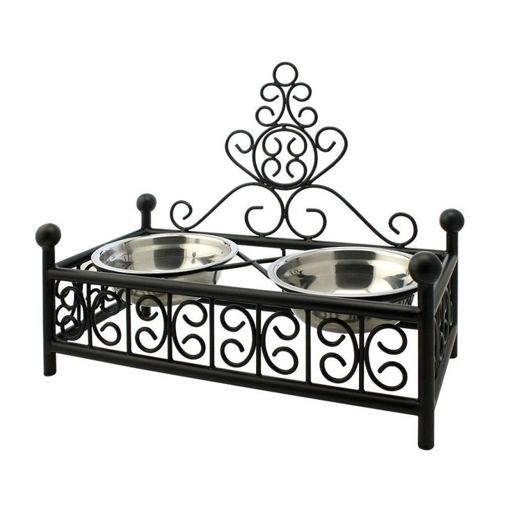 Wrought Iron Elevated Dog Food and Water Bowl Stand  #handcrafted