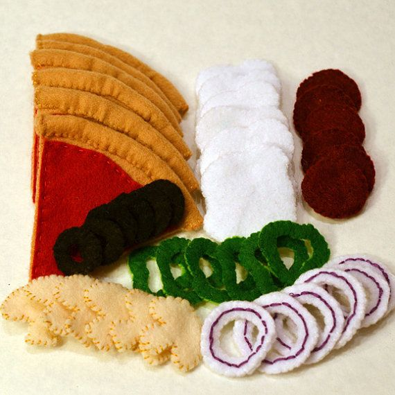Felt Food Pizza Children's Play Food by FeltFarmMarket on Etsy