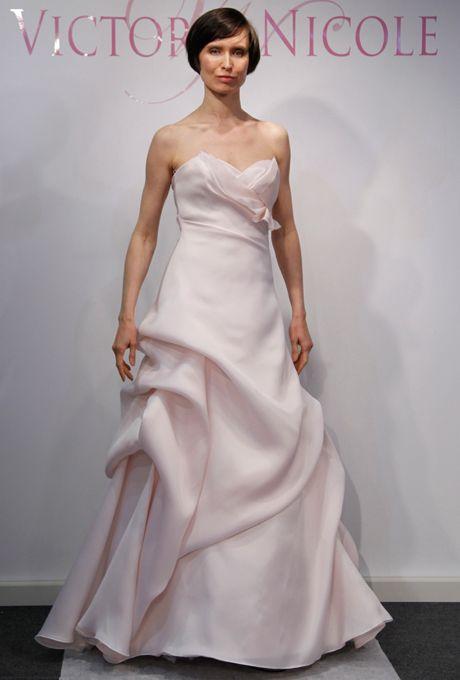 Brides.com: . Pink Wedding Dress: Victoria Nicole. Gown by Victoria Nicole  See more Victoria Nicole wedding dresses