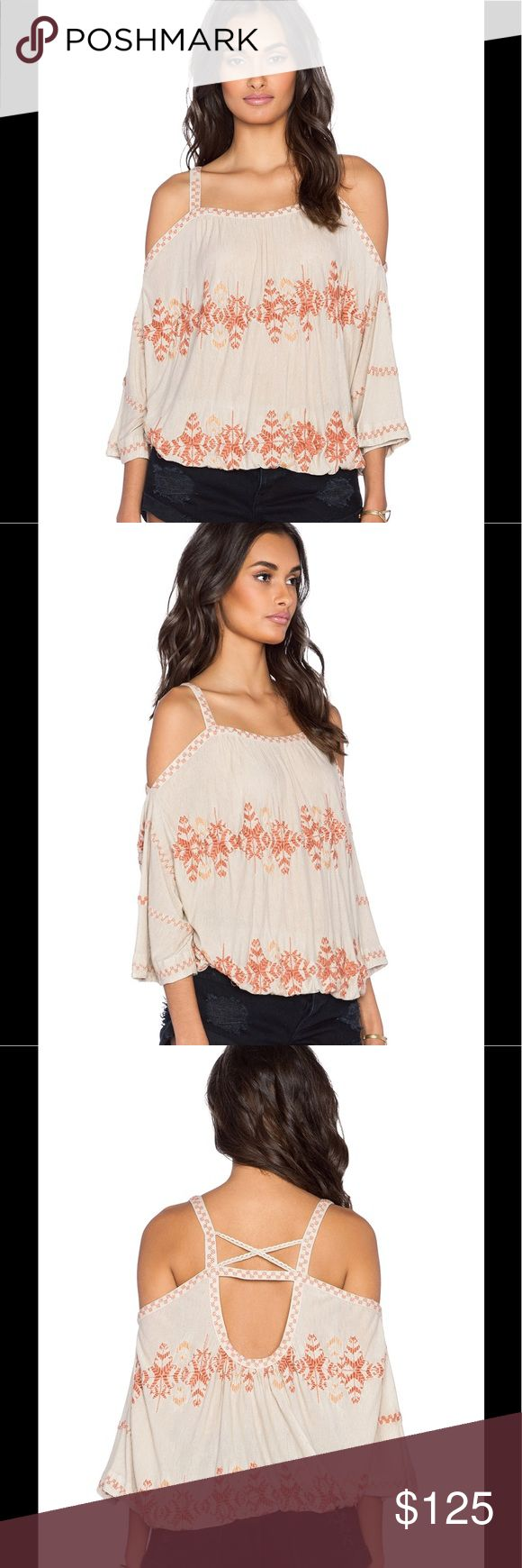 Free People Embroidered Bohemian Blouse Free People invokes a spirit of femininity and creativity. This is such a comfortable top in the bohemian style. The top features: 85% viscose , 15% linen Elasticized waist Embroidered trim Multi back cut-out Color - Dune Free People Tops Blouses