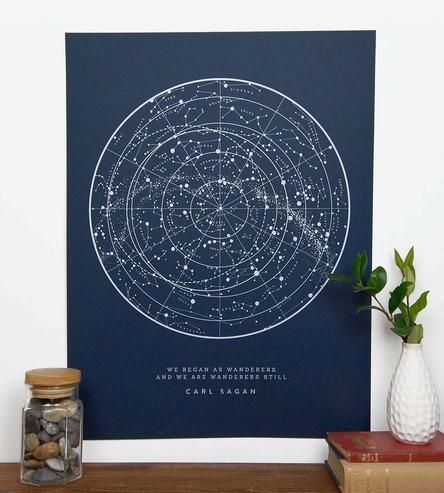 """Mapping out all of the stars visible from the Northern Hemisphere, this star chart art print features a quote from late astronomer Carl Sagan. It reads, """"We began as wanderers, and we are wanderers still,"""" the star chart and text printed with chalky white ink on heavyweight navy paper. Hang it where you most often contemplate space."""