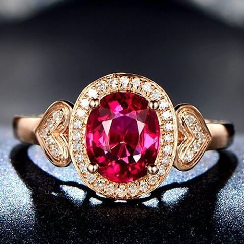 "19 Likes, 1 Comments - Suma Boutique (@sumagemboutique) on Instagram: ""1.61 Carats Natural Red Tourmaline with Diamond 14K Solid Rose Gold Fine Ring  Main Stone : Stone…"""