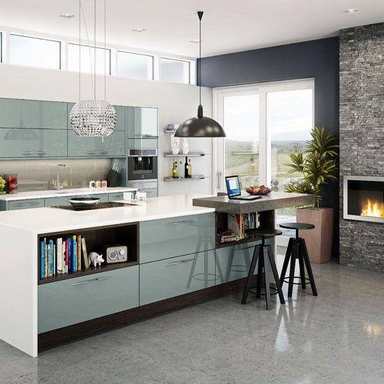 Sleek open-plan family kitchen | Contemporary kitchens | PHOTO GALLERY | Beautiful Kitchens | Housetohome.co.uk  Shelves in island?