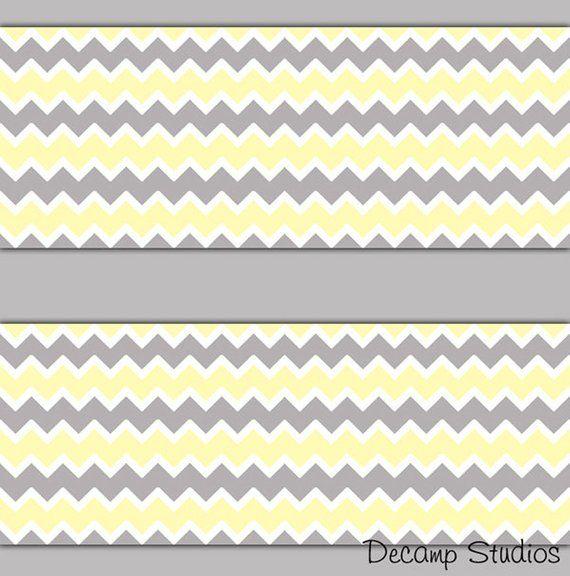 Chevron Wallpaper Border Decal Yellow Gray Wall Art Stickers Decor Kids Room Neutral Baby Nursery Zig Grey Chevron Wallpaper Decal Wall Art Chevron Wallpaper