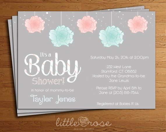 simple pom poms printable lr1031 shower invitations simple baby