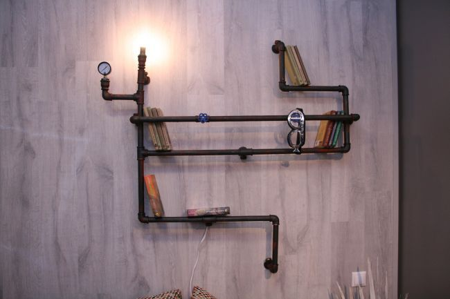 Shelf for books from water pipes