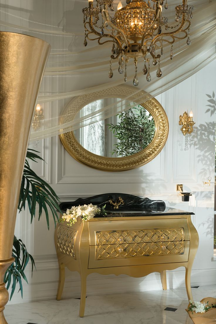 Topex Armadi Art Allegro glossy gold bath vanity from our Classic Collection!