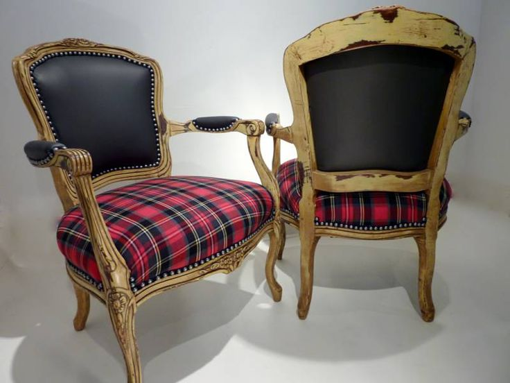 I really love the plaid just on the seat. Wish the frame was a dark wood finish, though.