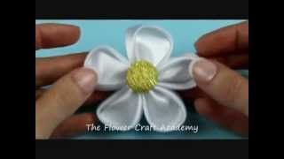kanzashi flower tutorial in english - YouTube