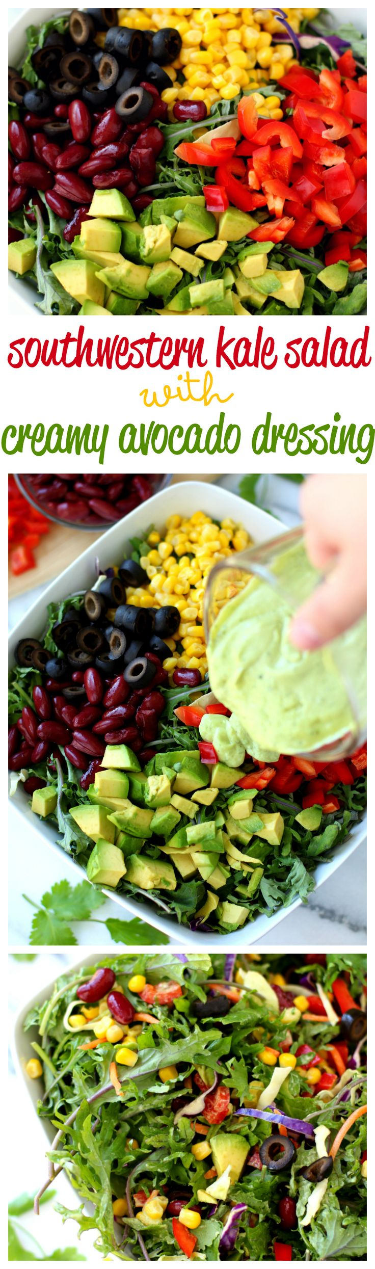 Southwestern Kale Salad with Creamy Avocado Dressing – healthy, crunchy and loaded with delicious flavor. Totally, an avocado-lovers DREAM!