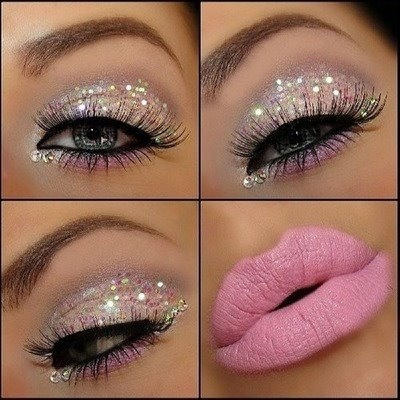 Glitter makeup, glitter, pink, white, lashes, eye shadow, pink lips, lips, Kisses