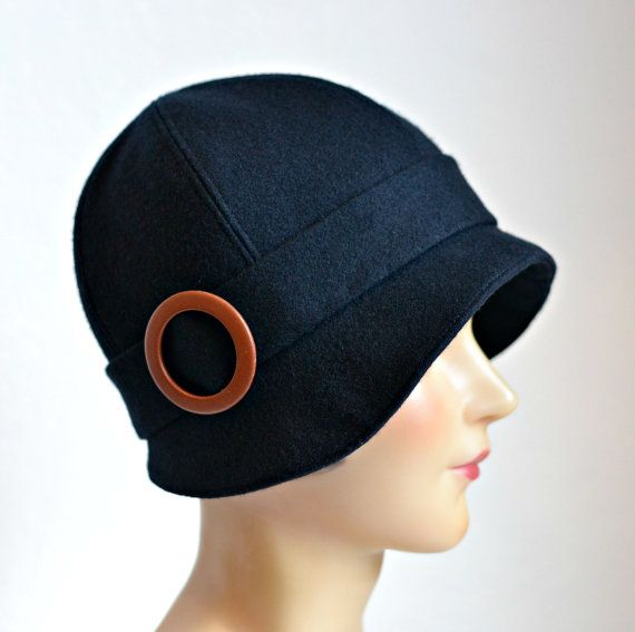 Cloche Hat in Black Wool with Leather Buckle  by HatsWithAPast