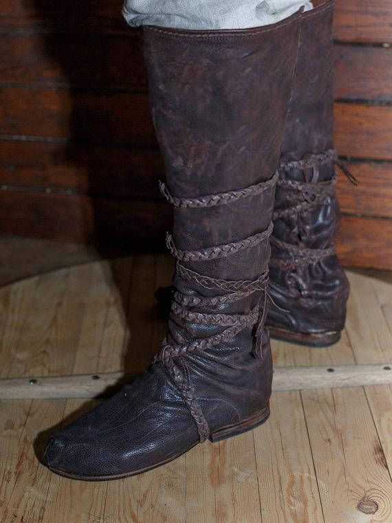 GESCHENK GÜRTEL!!! Mittelalterliche Leder kniehohe Stiefel