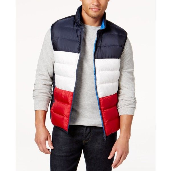Tommy Hilfiger Men's Hooper Reversible Vest ($65) ❤ liked on Polyvore featuring men's fashion, men's clothing, men's outerwear, men's vests, midnight, mens multi pocket vest, mens vest, mens red vest and mens vest outerwear