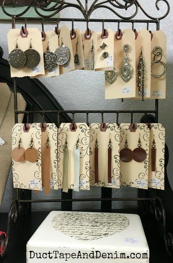 New leather earrings on my shelf at Paris Flea Market   DuctTapeAndDenim.com