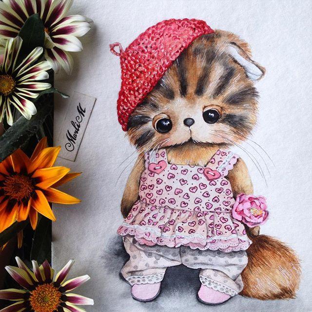 Милая девушка для @turchenko.anna #котенок#cat#handmade#рисунок#акварель#иллюстрация#drawing#watercolor#artwork#illustration#sketch#sketching